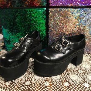 T.U.K. Platform leather buckle shoes size 10